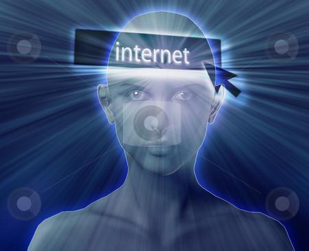 Thinking about internet stock photo, Woman thinking about internet clicking,floating over head by Kheng Guan Toh
