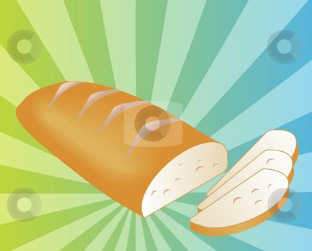 Sliced bread illustration stock photo, Illustration of a sliced loaf of bread on radial burst background by Kheng Guan Toh