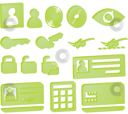 Security icons stock photo, Security icon button illustration set, 3d style look by Kheng Guan Toh