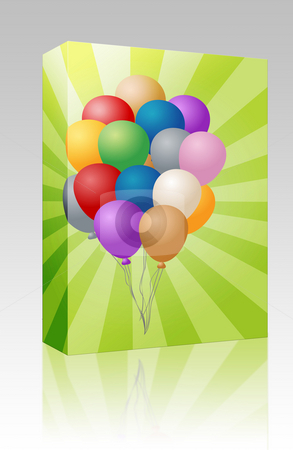 Group of balloons box package stock photo, Software package box Group of many festive colored balloons illustration by Kheng Guan Toh