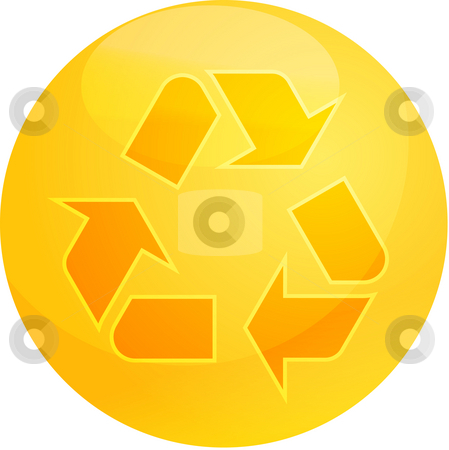 Recycling eco symbol stock photo, Recycling eco symbol illustration of three pointing arrows on a glossy sphere by Kheng Guan Toh