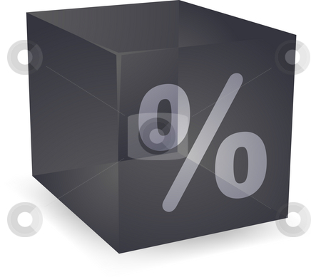 Percent cube icon stock photo, Percent icon on translucent cube shape illustration by Kheng Guan Toh