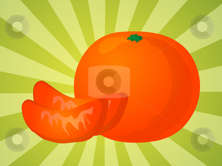 Orange sections illustration stock photo, Orange fruit, whole and individual segments, illustration by Kheng Guan Toh
