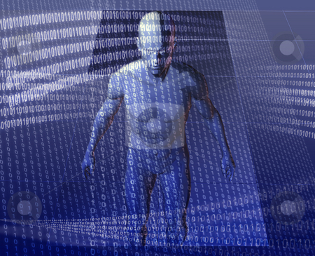 Virtual avatar stock photo, Virual avatar body surrounded by digital information by Kheng Guan Toh
