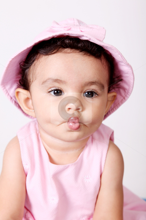 Baby gestures stock photo, Beautiful baby making gestures with his mouth. Tender  Image by Giuseppe Ramos