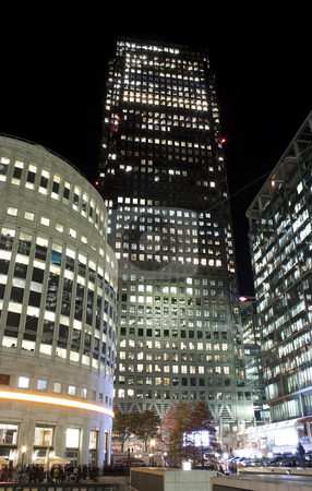 Canary Wharf skyscrapers in London at night stock photo, View of Canary Wharf skyscrapers in London at night by Karel Miragaya