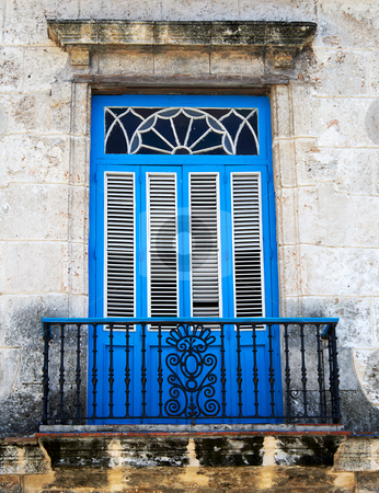 Old typical colonial balcony stock photo, Old typical colonial balcony painted in vivid blue by Karel Miragaya