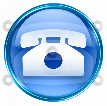 Phone icon blue, isolated on white background. stock photo, Phone icon blue, isolated on white background. by Andrey Zyk