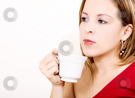 Woman stock photo, Young woman drinking coffee over white background by Giuseppe Ramos