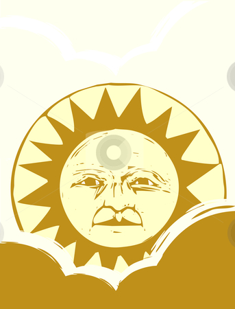 Sun Face #1 stock vector clipart, Isolated Sun face illustrated in a woodcut style. by Jeffrey Thompson