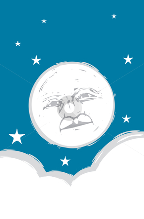 Moon Face #2 stock vector clipart, Moon face in the sky with clouds and stars. by Jeffrey Thompson