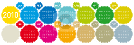 Colorful Calendar for 2010. stock vector clipart, Colorful Calendar for year 2010 in a circles theme. in vector format. by Germán Ariel Berra