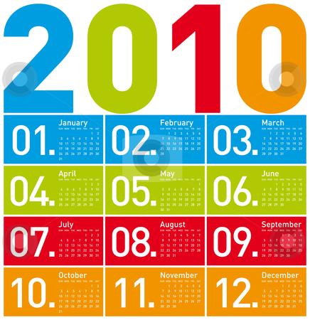 Colorful Calendar for 2010. stock vector clipart, Colorful Calendar for year 2010. in vector format. by Germán Ariel Berra