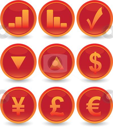 Financial web icons set stock vector clipart, Red financial web icons set by Vadim Pats