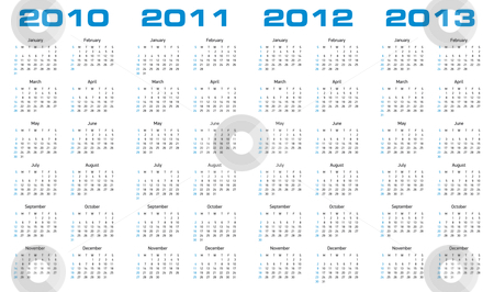 Calendar for 2010 through 2013 stock vector clipart, Simple calendar for years 2010, 2011, 2012 and 2013. by Germán Ariel Berra