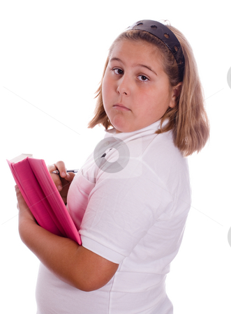 Girl Privacy stock photo, A young girl trying to hide her diary, isolated against a white background by Richard Nelson