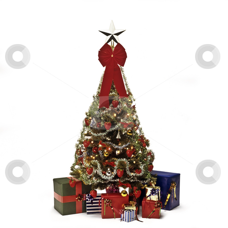 Christmas stock photo, Christmas tree with decorations, lights and gifts by Julio Viard
