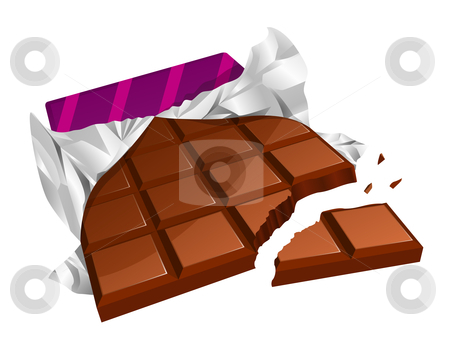 Chopped chocolate bar stock vector clipart, Vector illustration of a chopped chocolate bar with torn packing by Laurent Renault