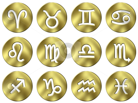 3D Golden Zodiac Signs stock photo, 3d golden zodiac signs isolated in white by Georgios Kollidas
