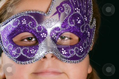 Masked Girl stock photo, Closeup view of a masked girl shot on black by Richard Nelson