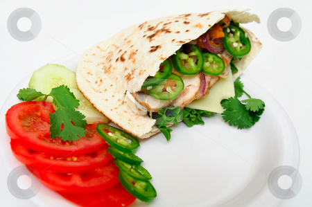 Pita Sandwich stock photo, Pita bread sandwich with lettuce, swiss cheese, grilled onions and jalapeno pepper, tomatoes, cucumber on a white plate by Lynn Bendickson