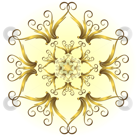 Golden vintage snowflake (vector) stock vector clipart, Golden vintage snowflake on white and yellow background (vector) by Olga Drozdova