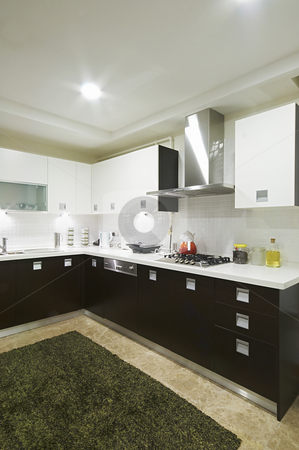 Domestical Kitchen White and black stock photo, Wide angel domestical kitchen view by Mehmet ali Ertek