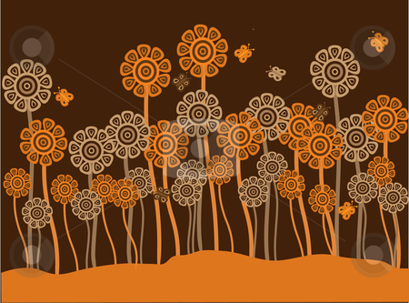 Funky brown and orange retro flowers and butterflies stock vector clipart, Vector illustration of funky brown and orange retro flowers and butterflies on a brown and orange background by Rachel Gordon