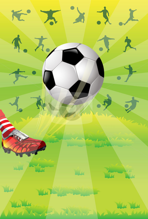 Soccer ball stock photo, Image of a soccer athlete who is kicking a soccer ball by Verapol Chaiyapin