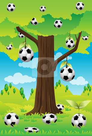 Tree ball stock photo, Image of a soccer athlete who is kicking a soccer ball by Verapol Chaiyapin