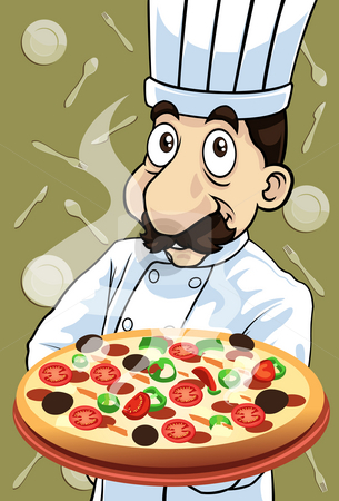 Delicious stock photo, Image of the chef who is cooking delicious pizza by Verapol Chaiyapin