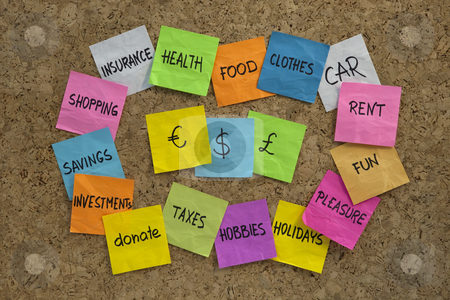 Household finance - word cloud on cork board stock photo, Word cloud related to household finance and expenses, color sticky notes on cork bulletin board by Marek Uliasz