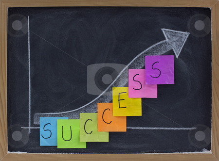 Success or growth concept on blackboard stock photo, Success, progress, growth concept on blackboard, white chalk drawing and color sticky notes by Marek Uliasz