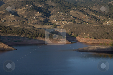 Colorado mountain living stock photo, Residential luxury houses on hills above Horsetooth Reservoir near Fort Collins in northern Colorado, early morning fall scenery by Marek Uliasz