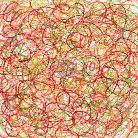Red crayon scribble abstract background stock photo, Hand-drawn crayon circular scribble background in red, green and orange colors by Marek Uliasz