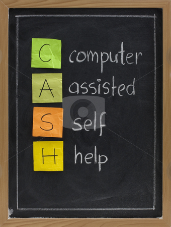 Computer assisted self help (CASH) stock photo, CASH - computer assisted self help - acronym for modern age, presented on blackboard with white chalk handwriting and color sticky notes by Marek Uliasz