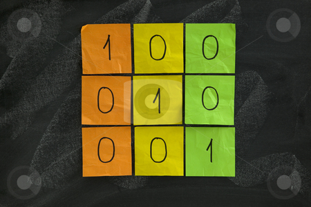 Identity matrix stock photo, Simple identity (unit) matrix with unit diagonal elements presented with color sticky notes on blackboard by Marek Uliasz