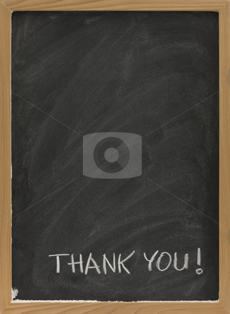 Thank you on blank blackboard stock photo, Thank you handwritten with white chalk on blank blackboard with eraser smudges by Marek Uliasz