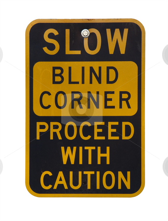 Blind corner warning sign stock photo, Yellow and black blind corner warning sign on a bike trail isolated on white by Marek Uliasz