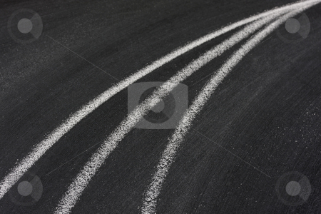 Converging lines on blackboard stock photo, Future or progress concept - converging lines abstract, white chalk drawing on blackboard by Marek Uliasz