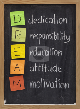 Dedication responsibility education attitude motivation stock photo, Dedication, responsibility, education, attitude, motivation - DREAM acronym explained on blackboard with color sticky notes and white chalk handwriting by Marek Uliasz