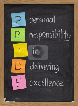 Personal responsibility in delivering excellence stock photo, PRIDE (personal responsibility in delivering excellence) concept on blackboard, color sticky notes and white chalk handwriting by Marek Uliasz
