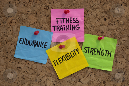 Fitness training goals or elements stock photo, Endurance, flexibility, strangth - fitness training goals concept, color sticky notes on cork bulleting board by Marek Uliasz