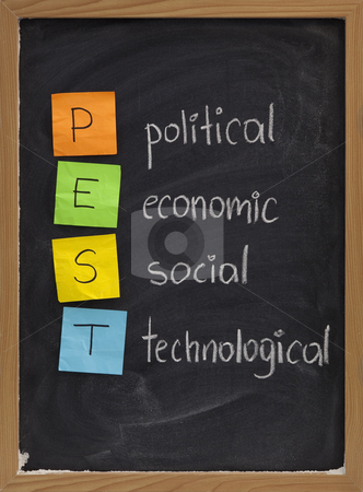Political, economic, social, technological analysis stock photo, PEST (political, economic, social, technological)  analysis  to assess the market for a business or organizational unit, concept presented on blackboard with color sticky notes and white chalk handwriting by Marek Uliasz