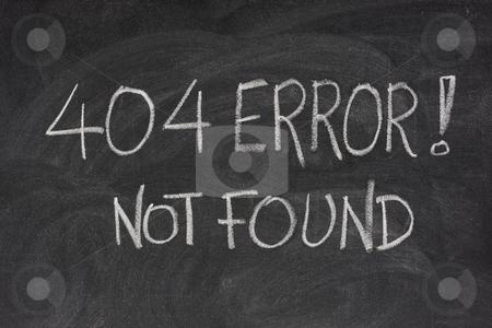 Internet error 404 - file not found stock photo, Internet warning message, 404 error, handwritten with white chalk on blackboard by Marek Uliasz