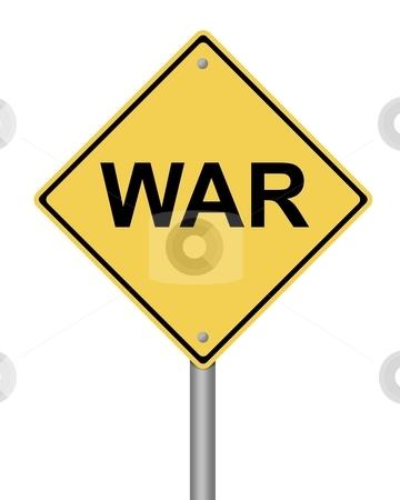 Warning Sign War stock photo, Blank yellow war warning sign on white background by Henrik Lehnerer