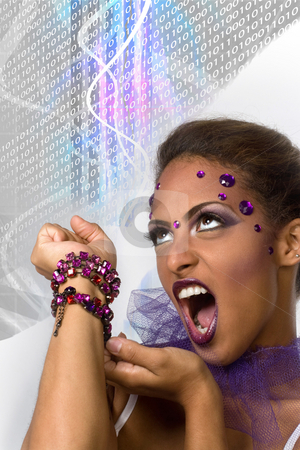 Evil Queen stock photo, An evil queen with glamorous makeup and glowing plasma in the background. by Todd Arena