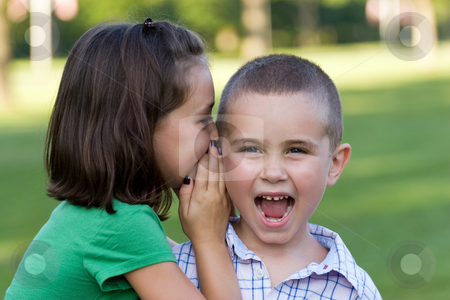 Kids Telling Secrets stock photo, A young girl telling her brother a secret. by Todd Arena