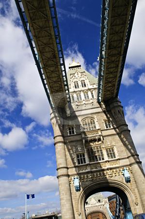 Tower bridge in London stock photo, Tower bridge walkways from below in London England by Elena Elisseeva