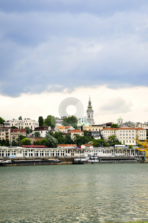 Belgrade cityscape on Danube stock photo, View of Belgrade city from Danube river by Elena Elisseeva